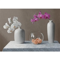 white vases with orchids by renato meziat