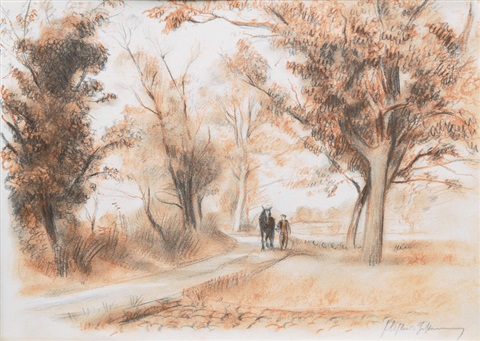 man and horse in an alley by friedrich (fritz) ahlers-hestermann