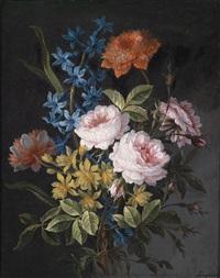 ein blumenstillleben von rosen, anemonen und anderen blumen by antoine monnoyer