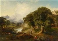 ideale landschaft mit figurenstaffage by johann fischbach