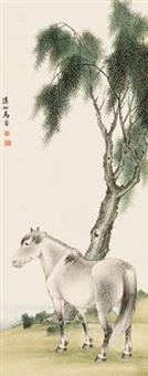 柳荫骏马图 by ma jin