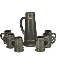 early assembled cider set: pitcher and six tankards (7 works) by fulper pottery