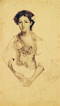 jeune femme au corsage fleuri by paul-emile becat