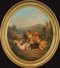 chèvre et trois efants dans un paysage by henry schouten