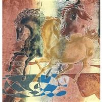 komposition mit drei pferden by hans erni