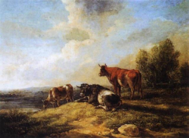 vaches devant la mare by henry milbourne