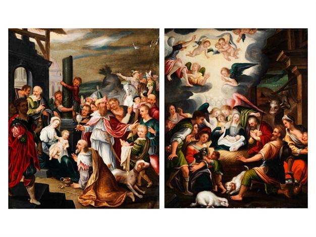 christi geburt mit anbetung der engel anbetung der heiligen drei könige pair by anonymous german 17