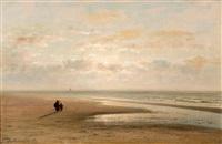 wandelaars op een verlaten strand by johannes joseph destree