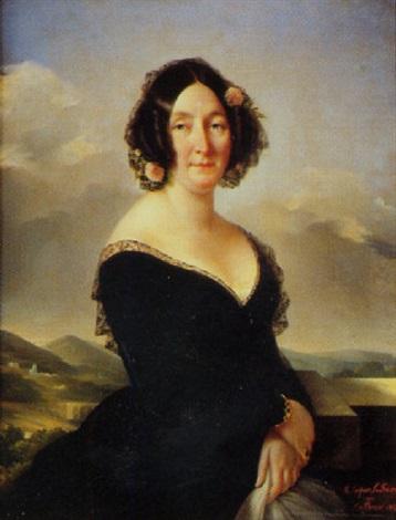 portrait de femme à la robe de dentelle noire et à la mantille sur fond de paysage by eugènie tripier lefranc