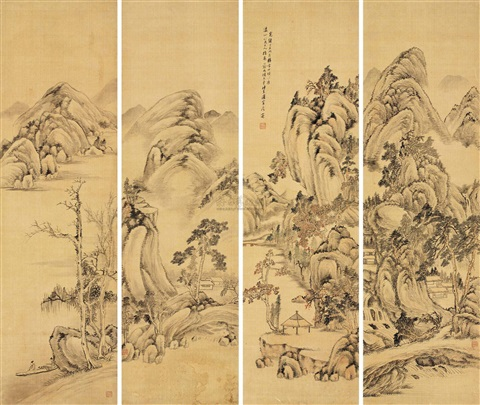 山水 landscape 3 others set of 4 by xiang wenyan