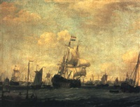 the river with a dutch man of war and other shipping in a stiff breeze by adam silo