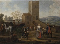 an elegant family beside a gig, with peasants making merry outside an inn by giovanni michele graneri