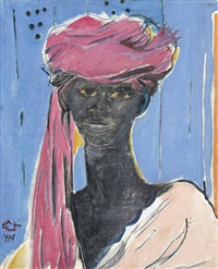 porträt eines afrikaners mit turban by albert (lindegger) lindi