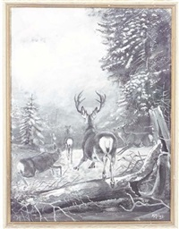 deer in a clearing (+ 3 others; 4 works) by john guille millais