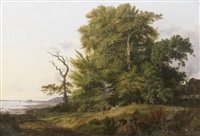 wooded landscape with huntsman and hounds, a view of kronborg castle beyond by ludwig heinrich theodor (louis) gurlitt