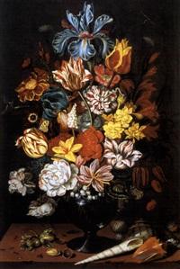 blumenstrauss in einer glasvase und muscheln by ambrosius bosschaert the younger