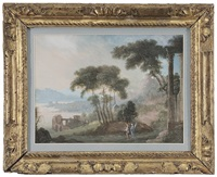 figures in a landscape with classical ruins by pierre antoine patel