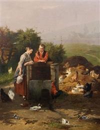 couple de bergers amoureux près du puits au poulailler by eugene rémy maes & jan david col