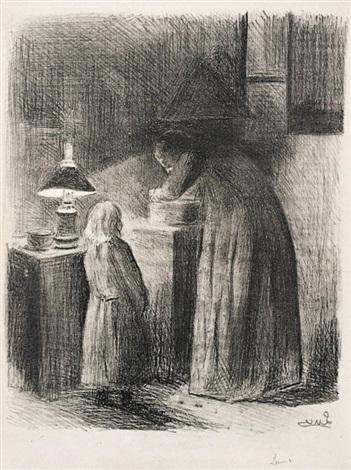 dans la cuisine rue cortot, ou la soupe et femme dans un intérieur à la bougie (2 works) by maximilien luce