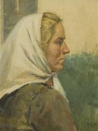 farm worker with headscarf by timofey andreevich ljashchunk