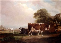 cattle and goat in a pasture (after bracassat) by l.g. jardan