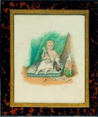sitzendes kind mit spielzeug auf einem blaubesticktem kissen vor einem vorhang by franz xaver nachtmann