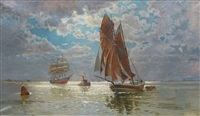 fishing cutter and tall ship off neuwerk by willi otto max lange