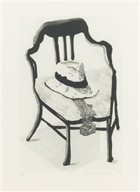 panama hat with a bow tie on a chair by david hockney