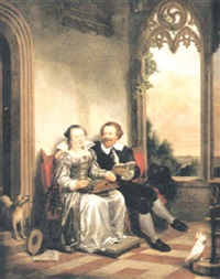 förälskat par i röd soffa på loggia by christiaan kramm