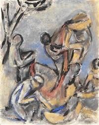 fischer (+ figurenstudie, verso) by carl ernst (karli sohn) sohn-rethel