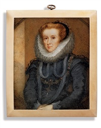 lady margaret buckhurst in black dress with white ruff and lace cuffs by ozias humphry