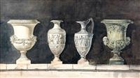 quatre vases d'après l'antique posés sur un muret by charles percier