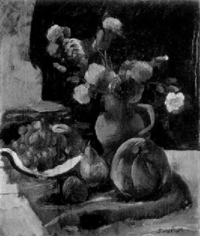 a still life with carnations in a jug and fruit by servando del pilar