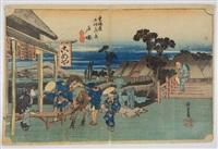oban yoko-e, série de la grande tokaido, station 6 totsuka by ando hiroshige