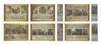 trompe l'oeil bas-relief friezes (10 works) by luigi ademollo
