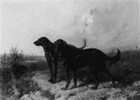 two retrievers in a landscape by rudolfowitsch frenz
