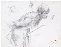 eine schauende frau (dbl-sided study) by paul friedrich meyerheim