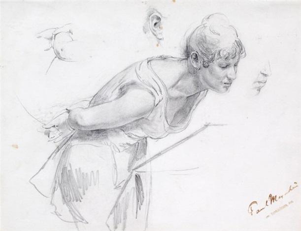 eine schauende frau dbl sided study by paul friedrich meyerheim