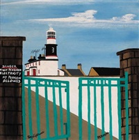 tory lighthouse (view through gate) by patsy dan rodgers