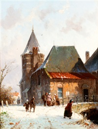 figuren bij winters stadsbruggetje by adrianus eversen