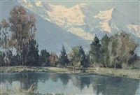 mont blanc lac des bois by charles henry contencin