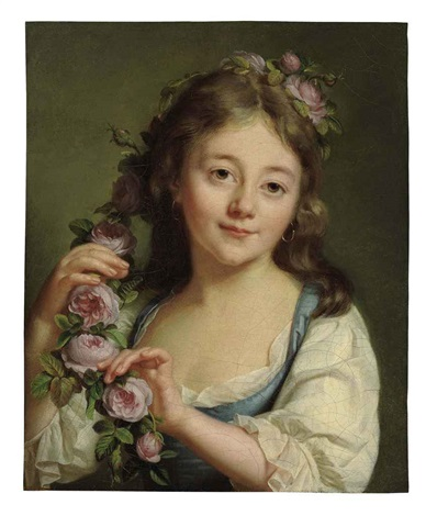 a young girl with a garland of roses by antoine vestier
