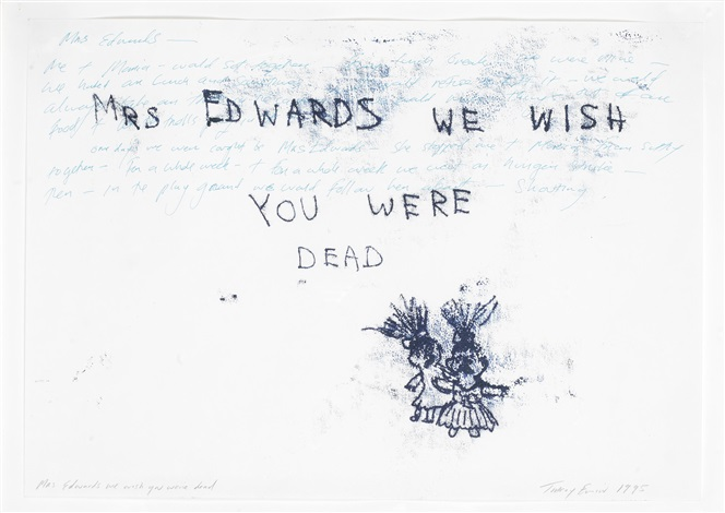 mrs edwards we wish you were dead by tracey emin