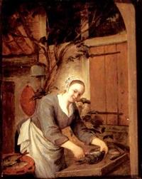 a kitchen maid preparing fish outside a house by gerrit zegelaar