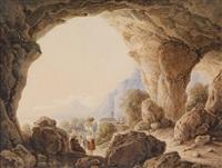 blick aus einer grotte auf eine italienische küstenlandschaft by georg von gaal