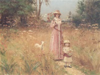 gathering flowers in a meadow by victor tortez