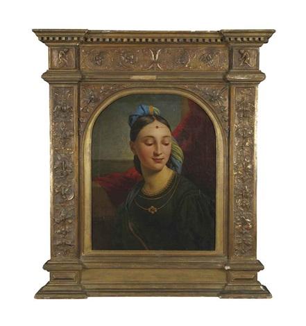 jeune femme en buste by paul hippolyte delaroche