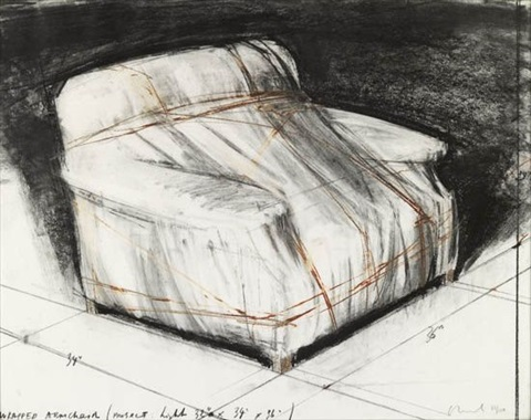 wrapped armchair, project by christo and jeanne-claude