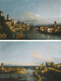 a view of vaprio, on the left and canonica, on the right looking north-west from the west bank of the adda, near the brembo confluence; a view of canonica, on the left and vaprio, on the right looking south from the monasterolo on the west bank of the adda by bernardo bellotto