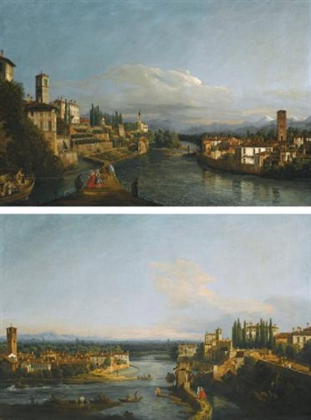 a view of vaprio on the left and canonica on the right looking north west from the west bank of the adda near the brembo confluence a view of canonica on the left and vaprio on the right looking south from the monasterolo on the west bank of the adda by bernardo bellotto